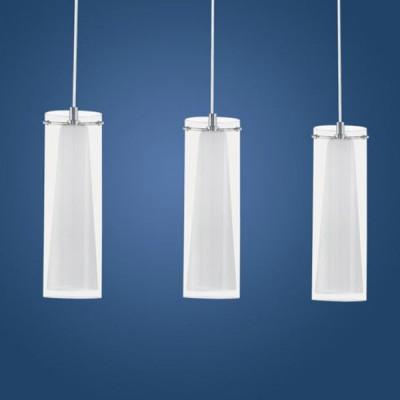 Eglo PINTO 89833 Светильник подвеснойТройные<br>Австрийское качество модели светильника Eglo 89833 не оставит равнодушным каждого купившего! Прозрачное и матовое закаленное стекло(пр-во Чехия), Никелированный глянцевый корпус, Класс изоляции 2 (двойная изоляция), IP 20, освещенность 2418 lm ,L=725Н=1100,3X60W,E27.<br><br>S освещ. до, м2: 12<br>Тип лампы: накаливания / энергосбережения / LED-светодиодная<br>Тип цоколя: E27<br>Количество ламп: 3<br>MAX мощность ламп, Вт: 2<br>Размеры основания, мм: 0<br>Длина, мм: 725<br>Высота, мм: 1100<br>Оттенок (цвет): прозрачный, белый<br>Цвет арматуры: серебристый<br>Общая мощность, Вт: 3X60W