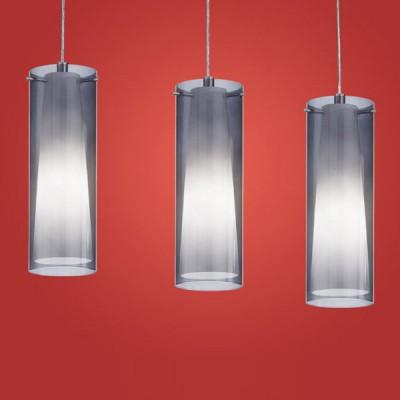 Eglo PINTO NERO 90305 Светильник подвеснойТройные<br>Австрийское качество модели светильника Eglo 90305 не оставит равнодушным каждого купившего! Прозрачное и матовое закаленное стекло(пр-во Чехия), Никелированный глянцевый корпус, Класс изоляции 2 (двойная изоляция), IP 20, освещенность 2418 lm ,L=725Н=1100,3X60W,E27.<br><br>S освещ. до, м2: 12<br>Тип лампы: накаливания / энергосбережения / LED-светодиодная<br>Тип цоколя: E27<br>Цвет арматуры: серый<br>Количество ламп: 3<br>Размеры основания, мм: 0<br>Длина, мм: 725<br>Высота, мм: 1100<br>Оттенок (цвет): черный-прозрачный, белый<br>MAX мощность ламп, Вт: 2<br>Общая мощность, Вт: 3X60W