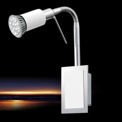 Eglo ERIDAN 90832 Светильник поворотный спотГибкие<br><br><br>S освещ. до, м2: 3<br>Тип лампы: LED - светодиодная<br>Тип цоколя: GU10<br>Количество ламп: 1<br>MAX мощность ламп, Вт: 2<br>Размеры основания, мм: 0<br>Длина, мм: 70<br>Расстояние от стены, мм: 200<br>Высота, мм: 200<br>Цвет арматуры: серебристый<br>Общая мощность, Вт: 1X5W