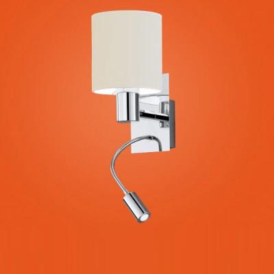 Eglo HALVA 90925 Настенно-потолочный светильникСовременные<br><br><br>S освещ. до, м2: 2<br>Цветовая t, К: 3000 (теплый белый)<br>Тип лампы: накаливания / энергосбережения / LED-светодиодная<br>Тип цоколя: E27<br>Количество ламп: 1<br>MAX мощность ламп, Вт: 29<br>Размеры основания, мм: 0<br>Длина, мм: 150<br>Расстояние от стены, мм: 195<br>Высота, мм: 380<br>Оттенок (цвет): белый<br>Цвет арматуры: серебристый<br>Общая мощность, Вт: 1X40W