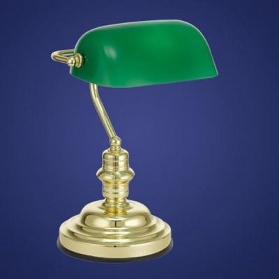 Eglo BANKER 90967 Офисная настольная лампаВ стиле СССР<br>Австрийское качество модели светильника Eglo 90967 не оставит равнодушным каждого купившего! Основание сталь с латунным покрытием, Класс изоляции 2 (плоская вилка, двойная изоляция от вилки до лампы), отдельный выключатель, крепление в виде прищепки, IP 20, освещенность 860 lm Н=390,L=275, 1X60W(E27).<br><br>S освещ. до, м2: 4<br>Тип лампы: накаливания / энергосбережения / LED-светодиодная<br>Тип цоколя: E27<br>Количество ламп: 1<br>MAX мощность ламп, Вт: 2<br>Размеры основания, мм: 0<br>Длина, мм: 275<br>Высота, мм: 390<br>Оттенок (цвет): зеленый<br>Цвет арматуры: латунь<br>Общая мощность, Вт: 1X60W