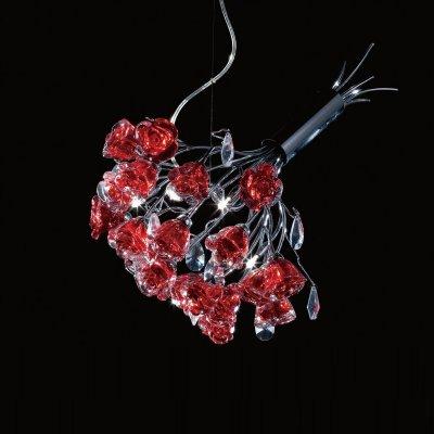 Люстра с красными розами Eletto EL325P04.2Подвесные<br>Дом, наполненный лучами света на флористический манер, – залог нежности и очаровательного интерьера! Поэтому обратите своё пристальное внимание на уникальную подвесную люстру Eletto EL325P04.2: элегантную, утончённую и изысканную. Перед Вами истинная флористика в лучшем исполнении! Подвесная люстра Eletto EL325P04.2 представлена в форме стилизованного букета роз насыщенно красного цвета. Дополнительные полупрозрачные детали выполнены в виде капель росы, что придаёт изделию неописуемую натуральность. С одной стороны, перед Вами роскошный флористический букет, с другой – аккуратный аксессуар света. Дополните свой интерьер изысканным «цветочным» украшением в виде подвесной люстры Eletto EL325P04.2!<br><br>Установка на натяжной потолок: Да<br>S освещ. до, м2: 15<br>Тип лампы: галогенная<br>Тип цоколя: G4<br>Количество ламп: 4<br>Диаметр, мм мм: 440<br>Высота, мм: 500 - 900<br>Оттенок (цвет): Розовый<br>Цвет арматуры: серебристый хром