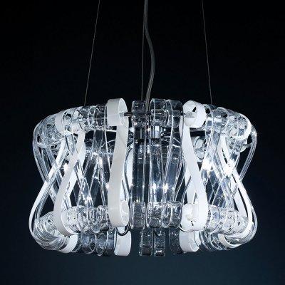 Люстра стеклянная Eletto EL326P09.1Подвесные<br>Подвесная люстра Eletto EL326P09.1 прекрасно подойдёт для истинных гурманов нестандартных светильников. В таком итальянском изделии искусно реализована интересная авторская задумка: создать полноценную скульптуру. И действительно, так сразу и не скажешь, что перед тобой просто светильник. Конструкция подвесной люстры Eletto EL326P09.1 состоит из оригинальных деталей мягкой формы. Цветовое наполнение заключается в прозрачной и белой тональности. Это огромный плюс, ведь светильник прекрасно впишется в любые колоритные интерьерные решения. Изделие, с одной стороны, не отличают маленькие размеры, но, с другой, оно не массивно. Таким образом подвесная люстра Eletto EL326P09.1 станет прекрасным очагом центрального освещения, каким она и создавалась.<br><br>Установка на натяжной потолок: Да<br>S освещ. до, м2: 18<br>Крепление: Планка<br>Тип лампы: галогенная / LED-светодиодная<br>Тип цоколя: G9<br>Цвет арматуры: серебристый<br>Количество ламп: 9<br>Диаметр, мм мм: 450<br>Высота, мм: 1400<br>Оттенок (цвет): белый<br>MAX мощность ламп, Вт: 40