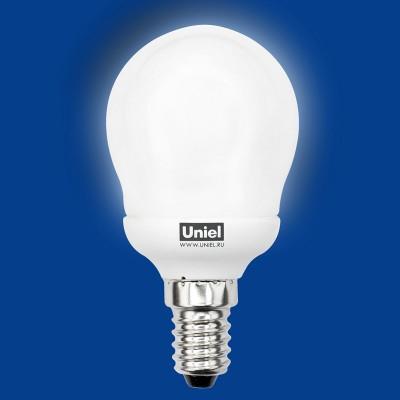 Лампа UNIEL ESL-G45-11/2700/E14В виде шарика<br><br><br>Тип товара: Лампа<br>Цветовая t, К: WW - теплый белый 2700-3000 К<br>Тип лампы: люминесцентная<br>Тип цоколя: E14<br>MAX мощность ламп, Вт: 11<br>Диаметр, мм мм: 45<br>Высота, мм: 87
