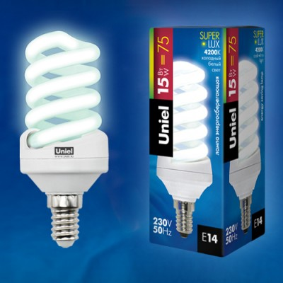 Лампа UNIEL ESL-S11-15/4000/E14 картонСпиральные<br>В интернет-магазине «Светодом» можно купить не только люстры и светильники, но и лампочки. В нашем каталоге представлены светодиодные, галогенные, энергосберегающие модели и лампы накаливания. В ассортименте имеются изделия разной мощности, поэтому у нас Вы сможете приобрести все необходимое для освещения.   Лампа UNIEL ESL-S11-15/4000/E14 картон обеспечит отличное качество освещения. При покупке ознакомьтесь с параметрами в разделе «Характеристики», чтобы не ошибиться в выборе. Там же указано, для каких осветительных приборов Вы можете использовать лампу UNIEL ESL-S11-15/4000/E14 картонUNIEL ESL-S11-15/4000/E14 картон.   Для оформления покупки воспользуйтесь «Корзиной». При наличии вопросов Вы можете позвонить нашим менеджерам по одному из контактных номеров. Мы доставляем заказы в Москву, Екатеринбург и другие города России.<br><br>Цветовая t, К: CW - холодный белый 4000 К<br>Тип лампы: Энергосберегающая<br>Тип цоколя: E14<br>MAX мощность ламп, Вт: 15<br>Диаметр, мм мм: 43<br>Высота, мм: 105