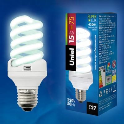 Лампа UNIEL ESL-S11-15/4000/E27 картонСпиральные<br><br><br>Тип товара: Лампа<br>Цветовая t, К: CW - холодный белый 4000 К<br>Тип лампы: Энергосберегающая<br>Тип цоколя: E27<br>MAX мощность ламп, Вт: 15<br>Диаметр, мм мм: 43<br>Высота, мм: 105