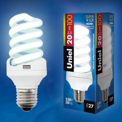 Лампа UNIEL ESL-S11-20/4000/E27 картонСпиральные<br><br><br>Тип товара: Лампа<br>Цветовая t, К: CW - холодный белый 4000 К<br>Тип лампы: Энергосберегающая<br>Тип цоколя: E27<br>MAX мощность ламп, Вт: 15<br>Диаметр, мм мм: 45<br>Высота, мм: 110