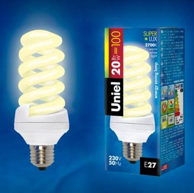 Лампа UNIEL ESL-S11-20/2700/E27 картонСпиральные<br>В интернет-магазине «Светодом» можно купить не только люстры и светильники, но и лампочки. В нашем каталоге представлены светодиодные, галогенные, энергосберегающие модели и лампы накаливания. В ассортименте имеются изделия разной мощности, поэтому у нас Вы сможете приобрести все необходимое для освещения.   Лампа UNIEL ESL-S11-20/2700/E27 картон обеспечит отличное качество освещения. При покупке ознакомьтесь с параметрами в разделе «Характеристики», чтобы не ошибиться в выборе. Там же указано, для каких осветительных приборов Вы можете использовать лампу UNIEL ESL-S11-20/2700/E27 картонUNIEL ESL-S11-20/2700/E27 картон.   Для оформления покупки воспользуйтесь «Корзиной». При наличии вопросов Вы можете позвонить нашим менеджерам по одному из контактных номеров. Мы доставляем заказы в Москву, Екатеринбург и другие города России.<br><br>Цветовая t, К: WW - теплый белый 2700-3000 К<br>Тип лампы: Энергосберегающая<br>Тип цоколя: E27<br>MAX мощность ламп, Вт: 15<br>Диаметр, мм мм: 45<br>Высота, мм: 110