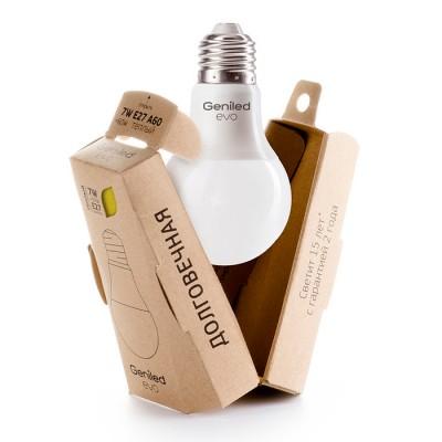 Лампа Geniled LED EVO Е27 A60 7W 2700K 01185Стандартный вид<br>В интернет-магазине «Светодом» можно купить не только люстры и светильники, но и лампочки. В нашем каталоге представлены светодиодные, галогенные, энергосберегающие модели и лампы накаливания. В ассортименте имеются изделия разной мощности, поэтому у нас Вы сможете приобрести все необходимое для освещения.   Лампа Geniled LED EVO Е27 A60 7W 2700K 01185 обеспечит отличное качество освещения. При покупке ознакомьтесь с параметрами в разделе «Характеристики», чтобы не ошибиться в выборе. Там же указано, для каких осветительных приборов Вы можете использовать лампу Geniled LED EVO Е27 A60 7W 2700K 01185Geniled LED EVO Е27 A60 7W 2700K 01185.   Для оформления покупки воспользуйтесь «Корзиной». При наличии вопросов Вы можете позвонить нашим менеджерам по одному из контактных номеров. Мы доставляем заказы в Москву, Екатеринбург и другие города России.<br><br>Цветовая t, К: WW - теплый белый 2700-3000 К<br>Тип лампы: LED - светодиодная<br>Тип цоколя: E27<br>MAX мощность ламп, Вт: 7<br>Диаметр, мм мм: 60<br>Высота, мм: 109