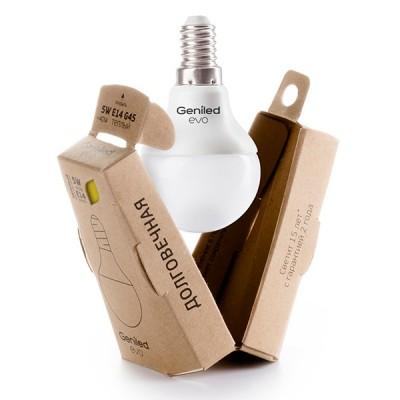 Лампа Geniled LED EVO Е14 G45 5W 2700K 01189В виде шарика<br><br><br>Цветовая t, К: WW - теплый белый 2700-3000 К<br>Тип лампы: LED - светодиодная<br>Тип цоколя: E14<br>MAX мощность ламп, Вт: 5<br>Диаметр, мм мм: 45<br>Высота, мм: 80
