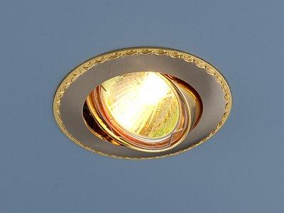 635 SNG (сатин никель/золото) Электростандарт Точечный светильник для натяжных, подвесных потолковТочечные светильники круглые<br>Лампа: MR16 G5.3 max 50 Вт Диаметр: #216; 86 мм Высота внутренней части: ? 21 мм Высота внешней части: ? 4 мм Монтажное отверстие: #216; 75 мм Гарантия: 2 года Светильник имеет поворотный механизм.<br><br>Тип лампы: галогенная<br>Тип цоколя: gu5.3<br>Диаметр, мм мм: 86<br>Диаметр врезного отверстия, мм: 75<br>MAX мощность ламп, Вт: 50