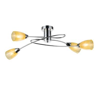 Потолочный светильник Freya FR103-04-YE FlashПотолочные<br><br><br>S освещ. до, м2: 8<br>Крепление: планка<br>Тип товара: Потолочный светильник<br>Тип цоколя: E14<br>Количество ламп: 4<br>MAX мощность ламп, Вт: 40<br>Глубина, мм: 320<br>Размеры основания, мм: 100<br>Высота, мм: 250<br>Цвет арматуры: серебристый хром