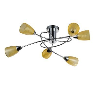 Потолочный светильник Freya FR103-06-YE FlashПотолочные<br>Компания «Светодом» предлагает широкий ассортимент люстр от известных производителей. Представленные в нашем каталоге товары выполнены из современных материалов и обладают отличным качеством. Благодаря широкому ассортименту Вы сможете найти у нас люстру под любой интерьер. Мы предлагаем как классические варианты, так и современные модели, отличающиеся лаконичностью и простотой форм.  Стильная люстра Freya FR103-06-YE станет украшением любого дома. Эта модель от известного производителя не оставит равнодушным ценителей красивых и оригинальных предметов интерьера. Люстра Freya FR103-06-YE обеспечит равномерное распределение света по всей комнате. При выборе обратите внимание на характеристики, позволяющие приобрести наиболее подходящую модель. Купить понравившуюся люстру по доступной цене Вы можете в интернет-магазине «Светодом».<br><br>S освещ. до, м2: 10<br>Крепление: планка<br>Тип цоколя: E14<br>Количество ламп: 5<br>MAX мощность ламп, Вт: 40<br>Размеры основания, мм: 100<br>Высота, мм: 240<br>Цвет арматуры: серебристый хром