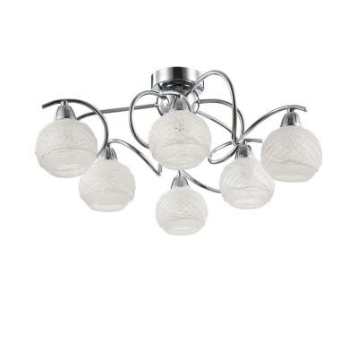 Freya Orin FR163-06-N ЛюстраПотолочные<br><br><br>Установка на натяжной потолок: Ограничено<br>S освещ. до, м2: 12<br>Тип лампы: Накаливания / энергосбережения / светодиодная<br>Тип цоколя: E14<br>Количество ламп: 6<br>MAX мощность ламп, Вт: 40<br>Диаметр, мм мм: 470<br>Высота, мм: 198<br>Оттенок (цвет): Никель