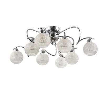 Freya Orin FR163-08-N ЛюстраПотолочные<br><br><br>S освещ. до, м2: 16<br>Тип лампы: Накаливания / энергосбережения / светодиодная<br>Тип цоколя: E14<br>Количество ламп: 8<br>MAX мощность ламп, Вт: 40<br>Диаметр, мм мм: 652<br>Высота, мм: 208<br>Оттенок (цвет): Никель