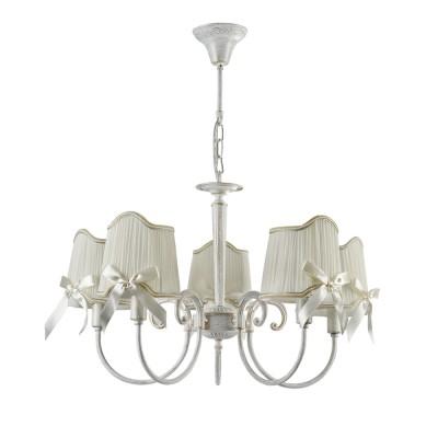 Люстра Freya FR2749-PL-05-WG KateПодвесные<br><br><br>S освещ. до, м2: 10<br>Тип лампы: накаливания / энергосбережения / LED-светодиодная<br>Тип цоколя: E14<br>Цвет арматуры: белый золото<br>Количество ламп: 5<br>Диаметр, мм мм: 650<br>Высота, мм: 395<br>MAX мощность ламп, Вт: 40