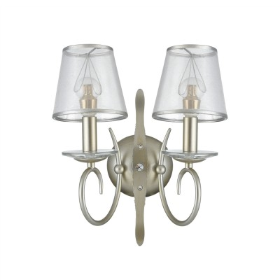 Бра Freya FR2755-WL-02-BR DarinaСовременные<br><br><br>Тип лампы: Накаливания / энергосбережения / светодиодная<br>Тип цоколя: E14<br>Цвет арматуры: Серебристо-коричневый<br>Количество ламп: 2<br>Ширина, мм: 300<br>Глубина, мм: 200<br>Высота, мм: 350<br>MAX мощность ламп, Вт: 40