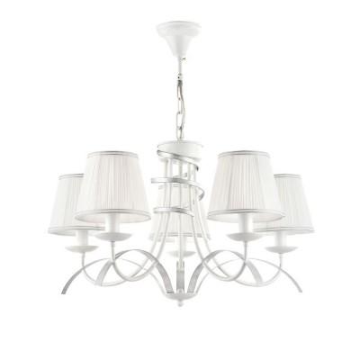 FR5569-PL-05-W Freya ЛюстраПодвесные<br><br><br>Установка на натяжной потолок: Да<br>S освещ. до, м2: 10<br>Тип лампы: Накаливания / энергосбережения / светодиодная<br>Тип цоколя: E14<br>Цвет арматуры: Белый с серебристой патиной<br>Количество ламп: 5<br>Диаметр, мм мм: 610<br>Высота, мм: 355<br>MAX мощность ламп, Вт: 40