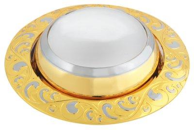 Светильник FT 182A GCH R50 E14 220V золото+хромНакаливания<br>Встраиваемые светильники – популярное осветительное оборудование, которое можно использовать в качестве основного источника или в дополнение к люстре. Они позволяют создать нужную атмосферу атмосферу и привнести в интерьер уют и комфорт.   Интернет-магазин «Светодом» предлагает стильный встраиваемый светильник Degran FT 182A GCH R50 E14 220V золото+хром. Данная модель достаточно универсальна, поэтому подойдет практически под любой интерьер. Перед покупкой не забудьте ознакомиться с техническими параметрами, чтобы узнать тип цоколя, площадь освещения и другие важные характеристики.   Приобрести встраиваемый светильник Degran FT 182A GCH R50 E14 220V золото+хром в нашем онлайн-магазине Вы можете либо с помощью «Корзины», либо по контактным номерам. Мы развозим заказы по Москве, Екатеринбургу и остальным российским городам.<br><br>Тип лампы: накаливания<br>Тип цоколя: E14<br>MAX мощность ламп, Вт: 50<br>Диаметр, мм мм: 97<br>Диаметр врезного отверстия, мм: 86