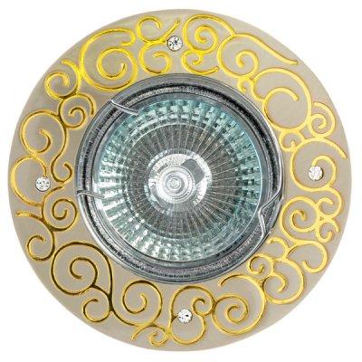Светильник FT 195 SNG MR16 сатин-никель+золото со стразамиКруглые<br>Встраиваемые светильники – популярное осветительное оборудование, которое можно использовать в качестве основного источника или в дополнение к люстре. Они позволяют создать нужную атмосферу атмосферу и привнести в интерьер уют и комфорт.   Интернет-магазин «Светодом» предлагает стильный встраиваемый светильник Degran FT 195 SNG MR16 сатин-никель+золото со стразами. Данная модель достаточно универсальна, поэтому подойдет практически под любой интерьер. Перед покупкой не забудьте ознакомиться с техническими параметрами, чтобы узнать тип цоколя, площадь освещения и другие важные характеристики.   Приобрести встраиваемый светильник Degran FT 195 SNG MR16 сатин-никель+золото со стразами в нашем онлайн-магазине Вы можете либо с помощью «Корзины», либо по контактным номерам. Мы развозим заказы по Москве, Екатеринбургу и остальным российским городам.<br><br>Тип лампы: галогенная<br>Тип цоколя: GU5.3 (MR16)<br>MAX мощность ламп, Вт: 50<br>Диаметр, мм мм: 93<br>Диаметр врезного отверстия, мм: 75