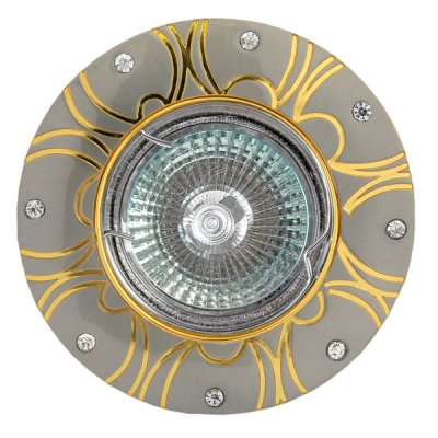 Светильник FT 197 SNG MR16 сатин-никель+золото со стразамиКруглые<br>Встраиваемые светильники – популярное осветительное оборудование, которое можно использовать в качестве основного источника или в дополнение к люстре. Они позволяют создать нужную атмосферу атмосферу и привнести в интерьер уют и комфорт.   Интернет-магазин «Светодом» предлагает стильный встраиваемый светильник Degran FT 197 SNG MR16 сатин-никель+золото со стразами. Данная модель достаточно универсальна, поэтому подойдет практически под любой интерьер. Перед покупкой не забудьте ознакомиться с техническими параметрами, чтобы узнать тип цоколя, площадь освещения и другие важные характеристики.   Приобрести встраиваемый светильник Degran FT 197 SNG MR16 сатин-никель+золото со стразами в нашем онлайн-магазине Вы можете либо с помощью «Корзины», либо по контактным номерам. Мы доставляем заказы по Москве, Екатеринбургу и остальным российским городам.<br><br>Тип лампы: галогенная<br>Тип цоколя: GU5.3 (MR16)<br>MAX мощность ламп, Вт: 50<br>Диаметр, мм мм: 93<br>Диаметр врезного отверстия, мм: 75