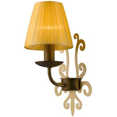 Светильник Favourite 1462-1WМодерн<br><br><br>Цветовая t, К: 2400-2800<br>Тип лампы: накаливания / энергосберегающая / светодиодная<br>Тип цоколя: E14<br>Количество ламп: 1<br>Ширина, мм: 150<br>MAX мощность ламп, Вт: 40<br>Длина, мм: 190<br>Высота, мм: 320<br>Поверхность арматуры: матовый, глянцевый<br>Цвет арматуры: золотой