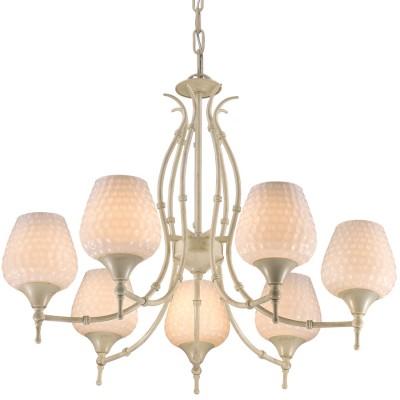 Светильник Favourite 1470-7PПодвесные<br><br><br>Установка на натяжной потолок: Да<br>S освещ. до, м2: 14<br>Крепление: Крюк<br>Тип товара: Люстра<br>Скидка, %: 67<br>Цветовая t, К: 2400-2800<br>Тип лампы: накаливания / энергосберегающая / светодиодная<br>Тип цоколя: E14<br>Количество ламп: 7<br>MAX мощность ламп, Вт: 40<br>Диаметр, мм мм: 690<br>Высота, мм: 550 - 1550<br>Поверхность арматуры: матовый, глянцевый<br>Цвет арматуры: белый с золотистой патиной<br>Общая мощность, Вт: 280