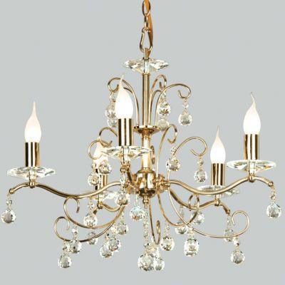 Люстра Favourite 1063-5pПодвесные<br>Отличная модель хрустальной люстры с золотым основанием и редким в своем роде хрусталем украсит Ваш интерьер зала или спальни, также отлично впишется в гостиной. Подвесная система позволит выставить оптимальное расстояние от потолка. Рекомендуем использовать в такой люстре лампы типа BXS - в виде свечи, чтобы подчеркнуть изящество и грациозность.<br><br>Установка на натяжной потолок: Да<br>S освещ. до, м2: 20<br>Крепление: Крюк<br>Тип товара: Люстра подвесная<br>Тип лампы: накаливания / энергосбережения / LED-светодиодная<br>Тип цоколя: E14<br>Количество ламп: 5<br>MAX мощность ламп, Вт: 60<br>Диаметр, мм мм: 580<br>Размеры: D580*H480<br>Высота, мм: 480<br>Оттенок (цвет): белый<br>Цвет арматуры: золотой