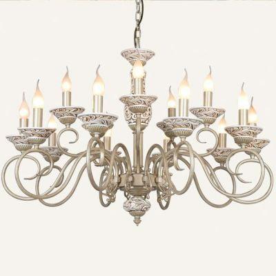 Люстра большая Favourite 1141-15pПодвесные<br>Красота и роскошь подвесной люстры Favourite 1141-15р покоряют с первого взгляда! Выполненная в виде большого, нарядного подсвечника, она станет настоящим украшением интерьера в стиле «классика» или «рустика». Каждая из пятнадцати лампочек – «свечек» расположена на отдельном «завитке» арматуры, а на «блюдцах» нанесен изящный гипсовый орнамент. Расположение плафонов на разных высотах не только создает привлекательный, «парадный» внешний эффект, но и является функциональным, т.к. освещение получается ярким и насыщенным по всей площади помещения до 50 кв.м. Белый оттенок придает конструкции «воздушность» и «легкость», и идеально смотрится в любой цветовой гамме комнаты. В качестве подсветки используйте комплект настенных бра из этой же серии, чтобы интерьер стал уютным, гармоничным и совершенным.<br><br>Установка на натяжной потолок: Да<br>S освещ. до, м2: 50<br>Крепление: Крюк<br>Тип лампы: накаливания / энергосбережения / LED-светодиодная<br>Тип цоколя: E14<br>Цвет арматуры: белый<br>Количество ламп: 15<br>Диаметр, мм мм: 900<br>Размеры: D900*H610/1600<br>Высота, мм: 610 - 1600<br>MAX мощность ламп, Вт: 60