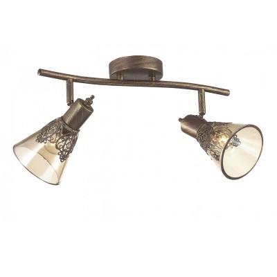 Потолочный светильник Favourite 1795-2U Gumbataдвойные светильники споты<br>Выбирая модель светильника Favourite 1795-2U, обратите внимание, что каркас коричневого цвета с золотой патиной, декоративный узор из металла на плафоне, плафон из прозрачного стекла коньячного оттенка. Дополнительная информация в характеристиках или по телефону.<br><br>Тип цоколя: E14<br>Количество ламп: 2<br>Ширина, мм: 180<br>Размеры: L380*W180*H180<br>Длина, мм: 380<br>Высота, мм: 180<br>Общая мощность, Вт: 40W
