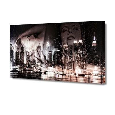 Постер на стену Ночной город G-1025H ToppostersПостеры на стену<br>Габариты: 50х100х2 см. Состав: Холст, подрамник из МДФ. Упаковка: Защитные уголки и термоусадочная пленка, размер 51х101х2,5 см.<br><br>Тип товара: Постер на стену