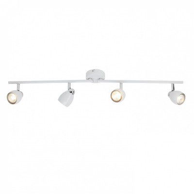 Светильник потолочный Brilliant G29732/75 MilanoС 4 лампами<br><br><br>Тип товара: Светильник поворотный спот<br>Тип лампы: галогенная/LED<br>Тип цоколя: GU10<br>Количество ламп: 4<br>Ширина, мм: 170<br>MAX мощность ламп, Вт: 50<br>Длина, мм: 840<br>Высота, мм: 110<br>Цвет арматуры: белый