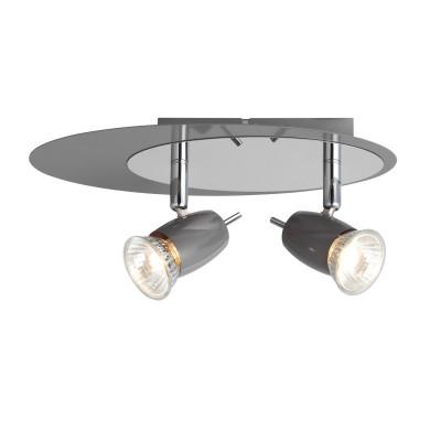 Светильник потолочный Brilliant G37924/52 KoraДвойные<br><br><br>Тип товара: Светильник поворотный спот<br>Скидка, %: 39<br>Тип лампы: галогенная/LED<br>Тип цоколя: GU10<br>Количество ламп: 2<br>Ширина, мм: 115<br>MAX мощность ламп, Вт: 40<br>Длина, мм: 265<br>Высота, мм: 130<br>Цвет арматуры: серый