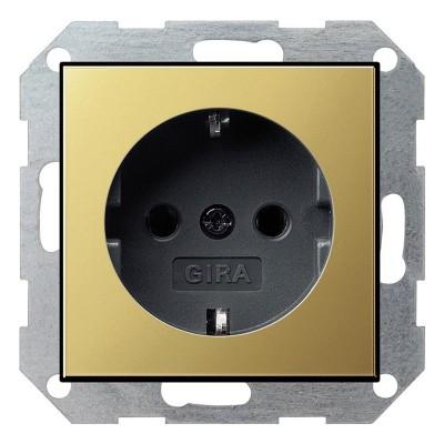 Gira S-55 Латунь/Антрацит Розетка с/з с защитными шторками (G453604)Gira System 55<br>Техническая информация:<br>Цвет: латунь/антрацит<br>Материал: латунь<br>Контакты: 2К+З<br>Напряжение сети: 250 В<br>Номинальный ток нагрузки: 16 A<br>Сепень защиты: IP20<br>Дополнительная информация: Розетка с заземляющими контактами и защитными шторками, из полированной латуни.<br><br>Оттенок (цвет): черный