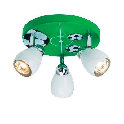 Светильник детский Brilliant G56234/74 футболПотолочные<br>Светильник детский в футбольной тематике<br><br>Установка на натяжной потолок: Ограничено<br>S освещ. до, м2: 10<br>Крепление: Планка<br>Тип лампы: галогенная / LED-светодиодная<br>Тип цоколя: GU10<br>Количество ламп: 3<br>MAX мощность ламп, Вт: 50<br>Диаметр, мм мм: 310<br>Высота, мм: 110<br>Цвет арматуры: зеленый