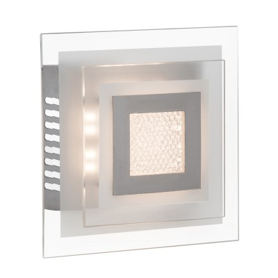 Светильник настенный Brilliant G94316/15 Crystal ClearКвадратные<br><br><br>Тип товара: Светильник настенно-потолочный<br>Цветовая t, К: 3000<br>Тип лампы: LED<br>Тип цоколя: LED<br>Количество ламп: 1<br>Ширина, мм: 180<br>MAX мощность ламп, Вт: 10<br>Длина, мм: 180<br>Высота, мм: 85<br>Цвет арматуры: серебристый