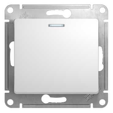 SE Glossa Бел Выклчатель 1-клавишный с подсветкой, сх.1а (GSL000113)Glossa<br><br><br>Оттенок (цвет): белый