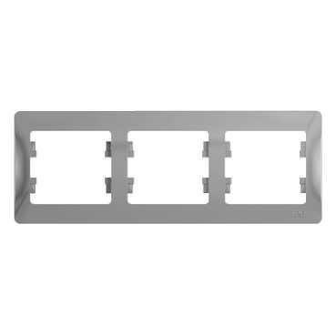 SE Glossa Алюминий Рамка 3-я, горизонтальная (GSL000303)Glossa<br><br><br>Тип товара: Рамка<br>Оттенок (цвет): серебристый