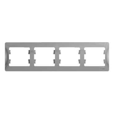 SE Glossa Алюминий Рамка 4-я, горизонтальная (GSL000304)Glossa<br><br><br>Оттенок (цвет): серебристый