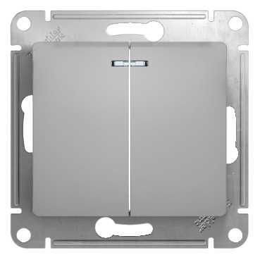 SE Glossa Алюминий Выключатель 2-клавишный с подсветкой, сх.5а (GSL000353)Glossa<br><br><br>Оттенок (цвет): серебристый