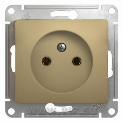 SE Glossa Титан Розетка без заземления (GSL000441)Glossa<br><br><br>Оттенок (цвет): серебристый