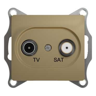 SE Glossa Титан TV-SAT Розетка одиночная 1DB (GSL000497)Glossa<br><br><br>Оттенок (цвет): серебристый