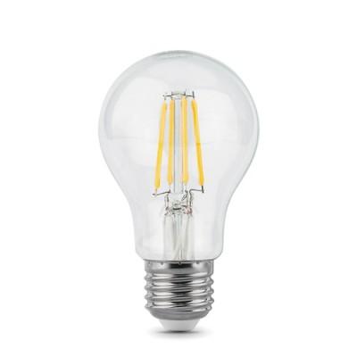 Лампа Gauss LED Filament A60 E27 6W 4100К/40Стандартный вид<br><br><br>Цветовая t, К: 4100<br>Тип лампы: LED<br>Тип цоколя: E27<br>MAX мощность ламп, Вт: 6