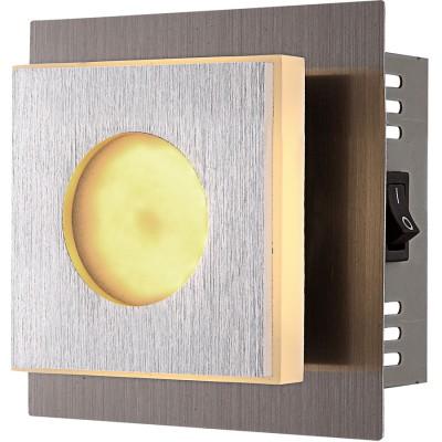 Светильник бра Globo 49208-1Хай-тек<br><br><br>Цветовая t, К: 3000<br>Тип лампы: LED<br>Тип цоколя: LED<br>Количество ламп: 1<br>Ширина, мм: 65<br>MAX мощность ламп, Вт: 4<br>Длина, мм: 100<br>Высота, мм: 100<br>Поверхность арматуры: матовый, глянцевый<br>Цвет арматуры: серый