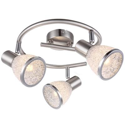 Светильник Globo 56041-3 RachelТройные<br><br><br>Тип товара: Светильник поворотный спот<br>Скидка, %: 21<br>Цветовая t, К: 3000<br>Тип лампы: накаливания / энергосберегающая / светодиодная<br>Тип цоколя: E14 LED<br>Количество ламп: 3<br>MAX мощность ламп, Вт: 4<br>Диаметр, мм мм: 435<br>Высота, мм: 145<br>Поверхность арматуры: матовый, глянцевый<br>Цвет арматуры: серебристый<br>Общая мощность, Вт: 12
