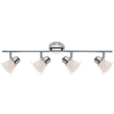 Светильник Globo 56182-4 NashvilleС 4 лампами<br><br><br>Тип товара: Светильник поворотный спот<br>Скидка, %: 76<br>Цветовая t, К: 3000<br>Тип лампы: накаливания / энергосберегающая / светодиодная<br>Тип цоколя: LED<br>Количество ламп: 4<br>MAX мощность ламп, Вт: 4<br>Диаметр, мм мм: 690<br>Высота, мм: 150<br>Поверхность арматуры: глянцевый<br>Цвет арматуры: серебристый<br>Общая мощность, Вт: 16