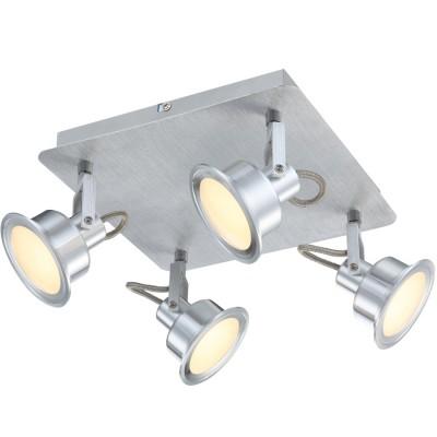 Светильник Globo 56954-4 LindseyС 4 лампами<br>Светильники-споты – это оригинальные изделия с современным дизайном. Они позволяют не ограничивать свою фантазию при выборе освещения для интерьера. Такие модели обеспечивают достаточно качественный свет. Благодаря компактным размерам Вы можете использовать несколько спотов для одного помещения.  Интернет-магазин «Светодом» предлагает необычный светильник-спот Globo 56954-4 по привлекательной цене. Эта модель станет отличным дополнением к люстре, выполненной в том же стиле. Перед оформлением заказа изучите характеристики изделия.  Купить светильник-спот Globo 56954-4 в нашем онлайн-магазине Вы можете либо с помощью формы на сайте, либо по указанным выше телефонам. Обратите внимание, что мы предлагаем доставку не только по Москве и Екатеринбургу, но и всем остальным российским городам.<br><br>Тип товара: Светильник поворотный спот<br>Скидка, %: 70<br>Цветовая t, К: 3300<br>Тип лампы: накаливания / энергосберегающая / светодиодная<br>Тип цоколя: LED<br>Количество ламп: 4<br>Ширина, мм: 165<br>MAX мощность ламп, Вт: 5<br>Длина, мм: 250<br>Высота, мм: 280<br>Поверхность арматуры: матовый<br>Цвет арматуры: серебристый<br>Общая мощность, Вт: 20