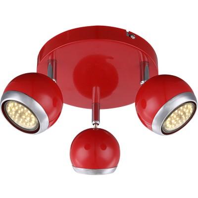 Светильник красный Globo 57885-3 OmanТройные<br><br><br>Тип товара: Светильник поворотный спот<br>Скидка, %: 61<br>Цветовая t, К: 3000<br>Тип лампы: накаливания / энергосберегающая / светодиодная<br>Тип цоколя: GU10<br>Количество ламп: 3<br>MAX мощность ламп, Вт: 3<br>Диаметр, мм мм: 180<br>Высота, мм: 130<br>Поверхность арматуры: матовый, глянцевый<br>Цвет арматуры: серебристый<br>Общая мощность, Вт: 9