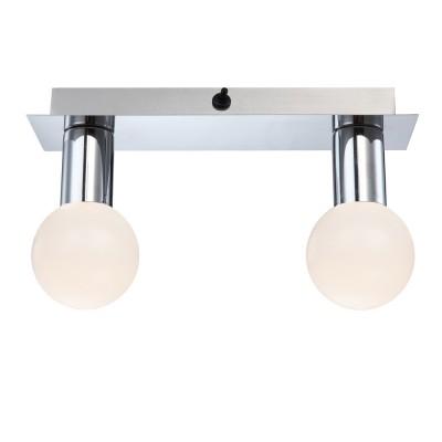 Светильник Globo 44202-2 SoligПрямоугольные<br><br><br>Тип лампы: галогенная / LED-светодиодная<br>Тип цоколя: LED<br>Цвет арматуры: серебристый<br>Количество ламп: 2<br>Ширина, мм: 80<br>Длина, мм: 280<br>Высота, мм: 160<br>MAX мощность ламп, Вт: 5