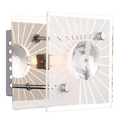 Светильник Globo 48691 Iolanaсовременные бра модерн<br><br><br>Установка на натяжной потолок: Ограничено<br>S освещ. до, м2: 2<br>Крепление: Планка<br>Тип лампы: галогенная / LED-светодиодная<br>Тип цоколя: G9<br>Цвет арматуры: серебристый<br>Количество ламп: 1<br>Ширина, мм: 110<br>Длина, мм: 110<br>Высота, мм: 120<br>MAX мощность ламп, Вт: 33